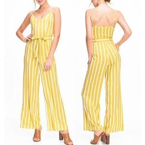 Yellow Cream Striped Wide Leg Cami V Neck Jumpsuit